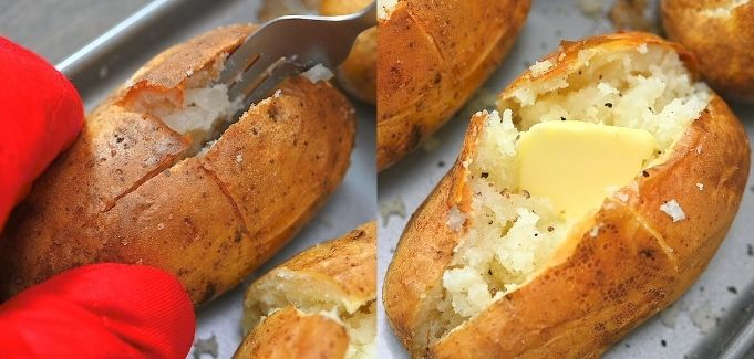 opening the potatoes and adding butter