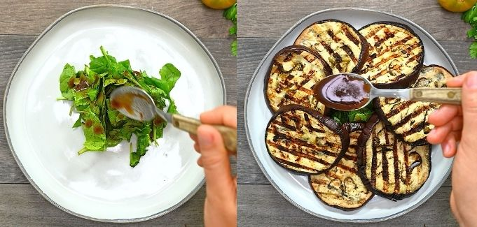 plating the Grilled Eggplant