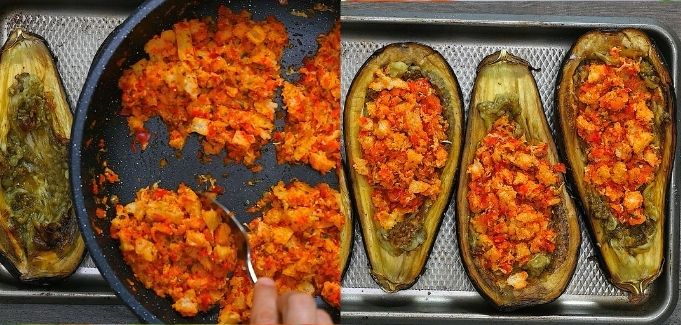 adding the stuffing to the eggplants