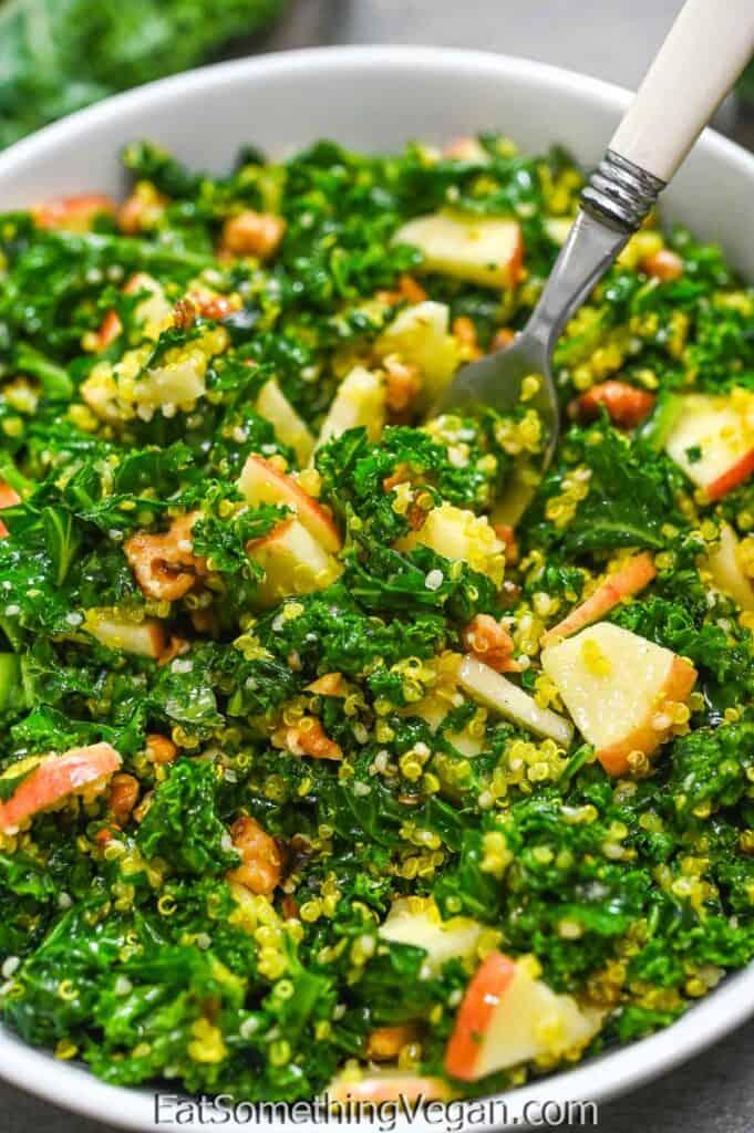 Kale Apple Salad on a fork