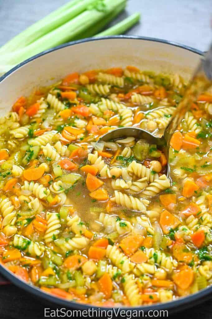 Vegan Chicken Noodle Soup in a pot