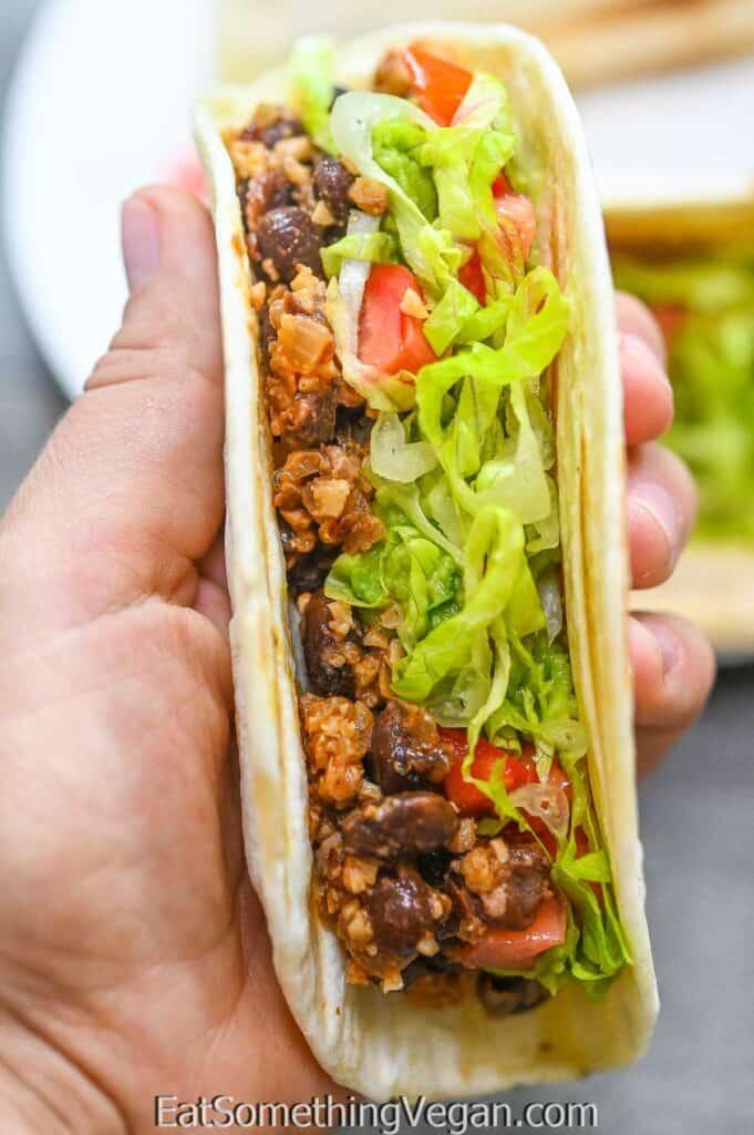 Vegan Walnut Taco Meat on a taco