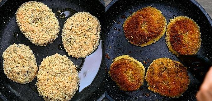 frying the Eggplant Potato Patties
