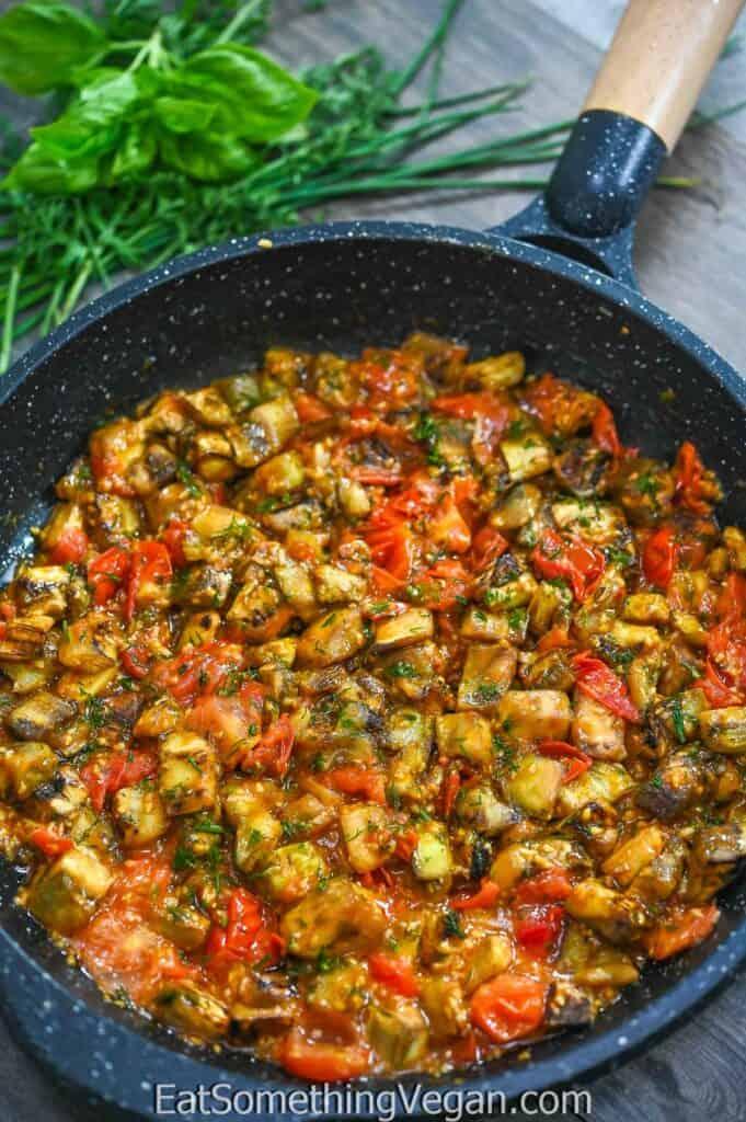 Eggplant in Tomato Sauce in the skillet