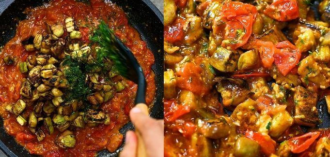 adding eggplants to the sauce