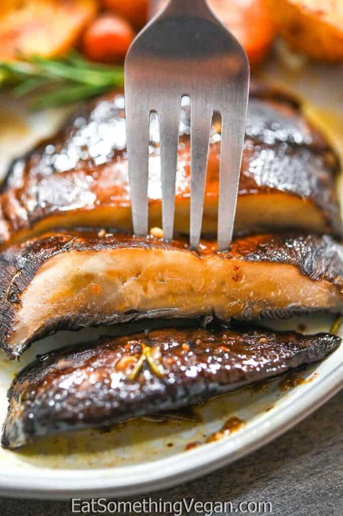Baked Portobello Steaks on a fork