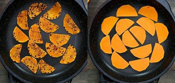 roasting the pumpkin slices