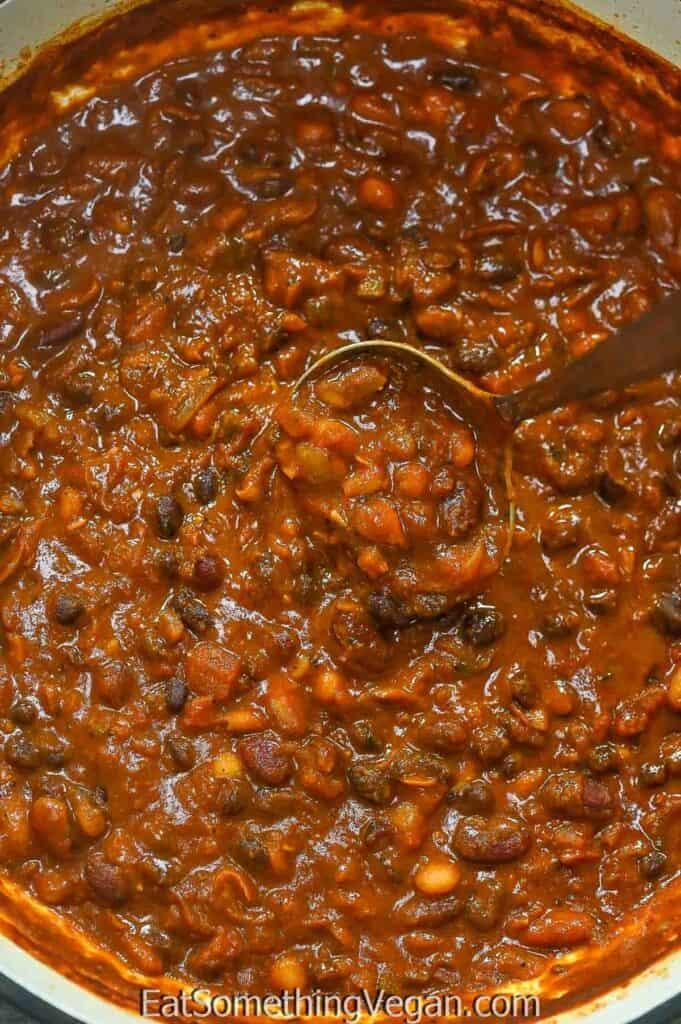 Three Bean Chili on a laddle