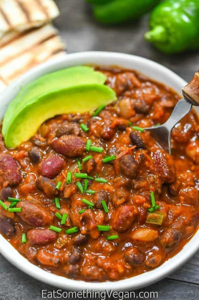 Three Bean Chili on a spoon