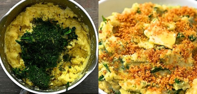 adding spinach to the potatoes