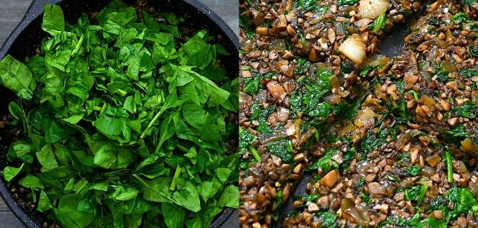 adding spinach to the mushrooms