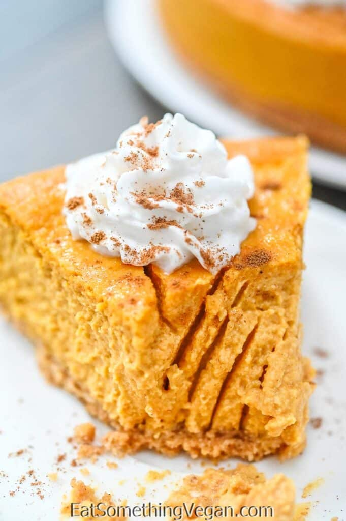 Vegan Pumpkin Cheesecake slice with fork marks