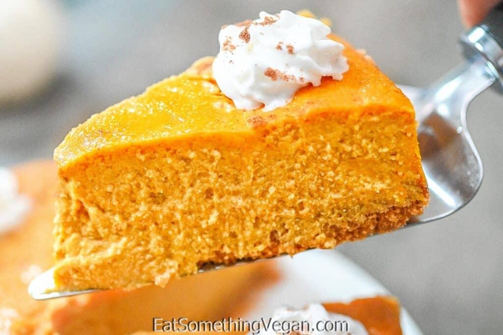 Vegan Pumpkin Cheesecake on a spatula