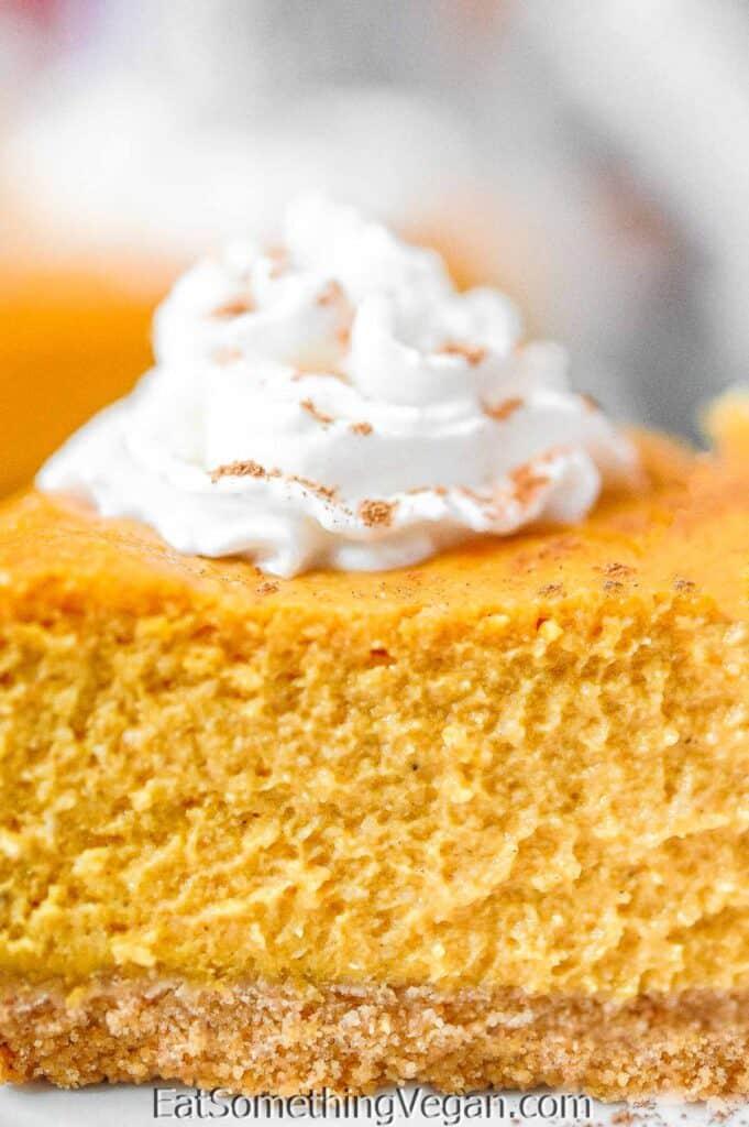 Vegan Pumpkin Cheesecake close up shot